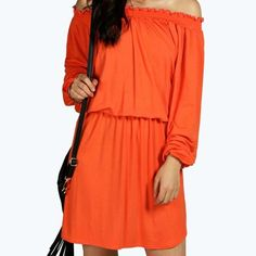 "☀️Adorable & Soft Orange Off/On Shoulder Dress☀️ ☀️Adorable & Soft Orange Off/On Shoulder Dress☀️ Fabulous material that is very soft & stretchy, like a favorite t-shirt! Viscose-95% Elastane-5% Bust-42"" Sleeve Length (from armpit)-18"" Length-34"" Elastic at waist for blousing effect and sides of dress come up slightly. Dresses Mini"