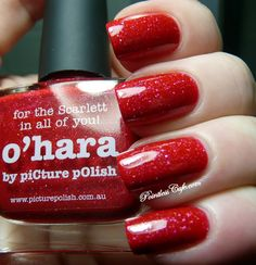 O'Hara mani creation by Pointless Cafe! WOW totally stunning! credits to Picture Polish :D love that red :DD
