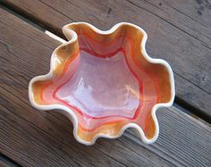 Sunset Wave Bowl - Pottery Bowl - Ceramic Dish - Ceramics and Pottery - Modern Decor - Jewelry Dish - Ashtray - Outdoor Patio Furniture Pottery Bowls, Ceramic Pottery, Pottery Art, Pottery Designs, Clay Art Projects, Ceramics Projects, Ceramic Clay, Ceramic Bowls, Ceramic Jewelry
