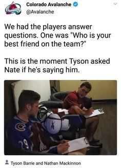 Tyson Barrie and Nate MacKinnon Caps Hockey, Flyers Hockey, Hockey Memes, Sports Memes, Funny Hockey, Bruins Hockey, Funny Sports, Hockey Baby, Hockey Girls