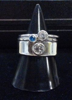 Handmade Stacking ring with a 3mm round Cubic Zirconia Stone - pinned by pin4etsy.com