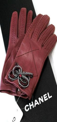 Chanel | LBV ♥✤  I find gloves at thrift stores.  I certainly can take a pair of wild earrings and sew them on.  I found some that were a bit more simple and decided to do this.