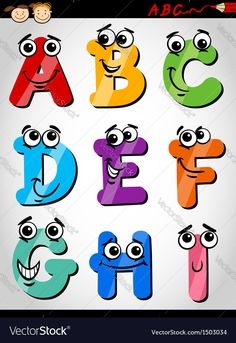Funny letters alphabet cartoon vector image on VectorStock Monogram Letters, Letters And Numbers, Doodle Art Tutorial, Funny Letters, Free Art Prints, Clip Art, Alphabet Art, Abstract Logo, Cartoon Images