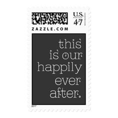 Happily Ever After Gray and White Postage