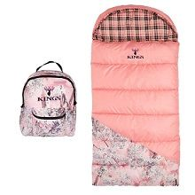 King's Pro Hunter Junior Pink Shadow Camo Kids Sleeping Bag - soft brushed poly flannel pink plain lining inside this sleeping bag, keeps child warm to +25 degrees.