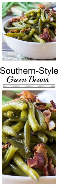 Southern-Style Green Beans with Bacon Thanksgiving Side Dish Recipe | Spicy Southern Kitchen - The BEST Classic, Improved and Traditional Thanksgiving Dinner Menu Favorites Recipes - Main Dishes, Side Dishes, Appetizers, Salads, Yummy Desserts and more!