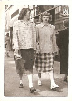 bobby soxers- these were long socks that were cuffed down to the ankle. They were worn for sport and casual leisure. They were of cotton and wool fabric.