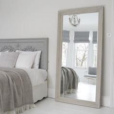 An Exquisite Large Grey Mirror Decadent And Over Sized With Bevelled Edges In Distressed Finish The Free Standing Is Perfect Piece For