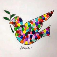 Peace dove with thumbprints. Could do one altogether to hang in the creche or one each to take home. Classroom Art Projects, Art Classroom, Kindergarten Art, Preschool Art, Art For Kids, Crafts For Kids, Arts And Crafts, Class Auction Projects, Auction Ideas