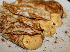 Healthy Crepes with Creamy Pumpkin Filling. These crepes are low in carbs, fat, and calories, but high in protein! Try filling them with fresh fruit (blueberries, strawberries, etc.) if you don't care for pumpkin.