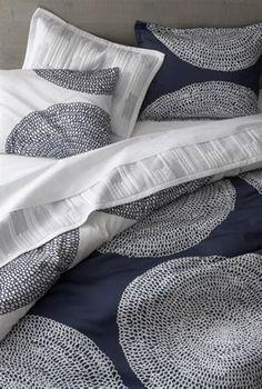 having a relationship with these linens Marimekko Pippurikera Navy Bed Linens