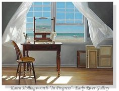 Great Big Canvas Contemporary still life painting of a chair and a writing desk next to an open window with a white curtain and the beach outside. Format: Canvas, Size: H x W x D Canvas Size, Canvas Wall Art, Wall Art Prints, Canvas Prints, Wall Seating, Removable Wall Decals, Karen, Open Window, Nursery Wall Decals