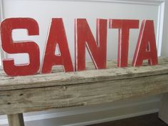 Santa Christmas Decor Painted Distressed Paper Mache Alphabet Letters Personalized Words on Etsy, $45.00
