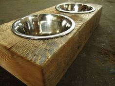 Wood Dog Dish Holder reclaimed beam 2 BOWL SMALL by VintageLumber, $65.00