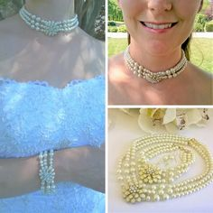 This three string pearl and crystal choker with enamel and rhinestone brooch is delicately handcrafted with Swarovski crystals and premium ivory glass pearls, an enamel flower with rhinestones and gold colour edges and underside. The matching bracelet is created in the same way, with the same materials. The earrings have two sizes of pearls and crystals, and are on 14 kt gold plate fish hooks.  The crystals and rhinestones sparkle with every movement.  Length: Choker/Necklace: Approximat...