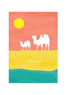 Camels Art print - Desert Sand - Children decor, Kids, Wedding Birthday Anniversary Gifts Playroom decor Nursery decor
