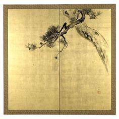 Suzuki Kason, Pine, Bird and Spider, a 2-fold screen painting Japan Meiji era, late 19th - early 20th century AD