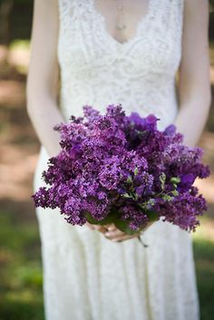 ramo de novia con lilas