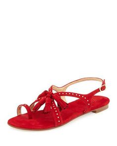 S1QE8 Stuart Weitzman Flapagain Suede Tassel Flat Sandal, Red
