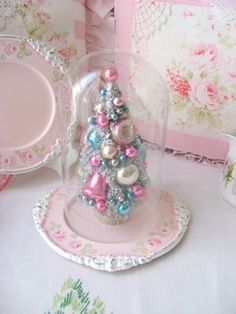 Pink little Christmas bulb tree