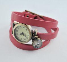 Armbanduhren - Echtleder Wickelarmbanduhr in altrosa, Paris - ein Designerstück von mias-dekostube bei DaWanda