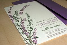 Lavendar inspired - we're probably going to have quite a bit of lavender at the wedding since the lavender festival is held not long before.