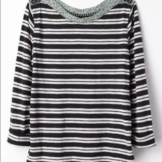 Anthropologie Laurelwood Boatneck Top by Postmark Item details:  • Designer: Postmark by Anthropologie • Style name: Laurelwood Boatneck • Black and white stripes with green floral edging • Cotton blend   • Long sleeves • Boat neck  • Semi relaxed fit  • Striped pattern with a contrasting floral trim along the neckline • Hits at hips  • Pre-owned • Good condition with no tears, pilling, or stains  • Women's size medium  • 18.5 inches across bust, from side to side when laid flat  • 23…