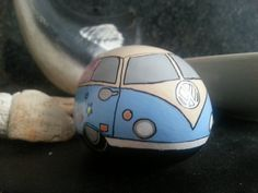 RESERVED Custom Hand Painted Stone VW Camper by ShePaintsSeaStones