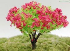 Plastic Pink Flower Tree Miniature Fairy Garden Terrarium Dollhouse Layout