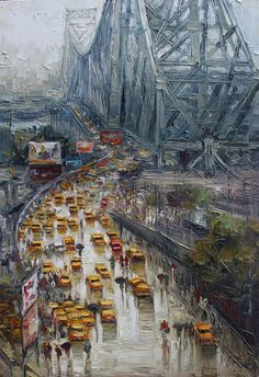 The artist captured the beauty of KOLKATA city roads in this artwork which can be encountered by just walking down the street. #IndianArt #StreetRoad #Kolkata #WetStreet #Painting #ArtWork
