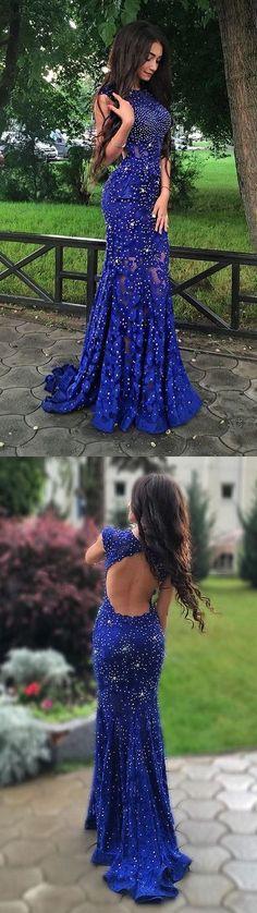 2017 Long Prom Dress,Mermaid Long Prom Dress,High Fashion Mermaid Royal Blue Lace Long Prom Evening Dress