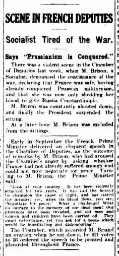 WWI, 13 Dec 1916; Violent scenes not only on the battlefields, but also in the French Chamber of Deputies. - The Argus, Melbourne