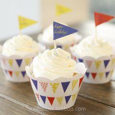烘焙包裝紙杯蛋糕圍邊插牌套裝12枚圍邊+12枚插牌 三角旗系列-淘寶網