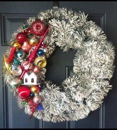 Flocked Bottlebrush Wreath Putz House Tree Topper Christmas Ornament Mercury