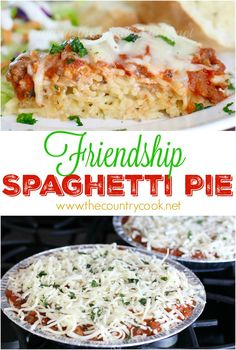 Friendship Spaghetti Pie recipe from The Country Cook. This turned out SO good. Make one & take one (or freeze for later.) One of the best pasta recipes I have made in a long time.  Layers of creamy spaghetti, meaty spaghetti sauce and gooey cheeses! (ad) Spaghetti Torte, Meaty Spaghetti Sauce, Spaghetti Pie Recipes, Creamy Spaghetti, Best Pasta Recipes, Baked Spaghetti, Beef Recipes, Cooking Recipes, Easy Recipes