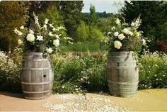 Wine barrels as aisle starters
