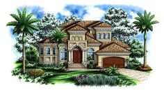Florida   Mediterranean   House Plan 60437 Has study and guest room. Kids' rooms upstairs with balcony & loft.