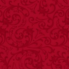 Cotton Scroll Fabric, Red