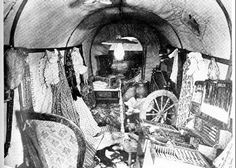 Inside a pioneer wagon. Read about life on the trail in #trailofthread by #lindahubalek