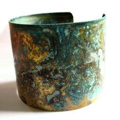 Cuff | Amanda Robins. Brass with turquoise patina.
