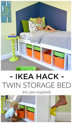 Easy step-by-step tutorial will show you how to make a platform bed with storage using IKEA shelves and a little DIY. Perfect boy or girl bedroom solution! #IKEA #storage Twin Storage Bed, Platform Bed With Storage, Twin Platform Bed, Kids Storage Beds, Diy Storage Daybed, Ikea Platform Bed Hack, Ikea Loft Bed Hack, Ikea Hack Kids Bedroom, Toddler Bed With Storage