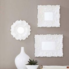 Better Homes and Gardens White Baroque Easy to Hang Florence Wall Mirrors, Set of 3