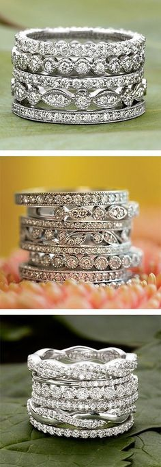 Timeless Wedding Rings For Your Eternal Love ❤︎ #layered #diamond