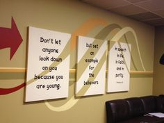Inspiration for walls, but with motivational quotes or group tenants.