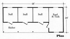 Califorian 3 stall barn with extended feed/tack room. Horse Shed, Horse Barn Plans, Horse Stables, The Plan, How To Plan, Simple Horse Barns, Horse Barn Designs, Barn Layout, Barn Stalls