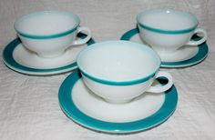 Vintage Pyrex Turquoise Tea Cup and Saucer. Great for Mad Hatter Tea Party, or any little girl tea party.