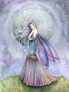 Fairy Fantasy Fine Art Giclee Print by Molly Harrison 'Solitude' Dragons, Kobold, Unicorns And Mermaids, Fairy Pictures, Love Fairy, Sad Fairy, Beautiful Fairies, Illustrations, Fairy Art