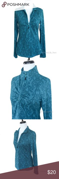 Eddie Bauer Teal Damask Long-Sleeve Top An essential active shirt, fashioned from a soft, breathable knit with zip neck for enhanced ventilation. Shaping seams and ruching at the front enhance the figure-flattering fit.  • Size: M • 90% polyester / 10% spandex • Like new condition!  No pilling, stains, tears, pulls, rips, or even ugly bits :) Eddie Bauer Tops Sweatshirts & Hoodies