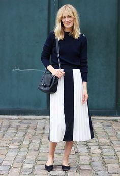Sweater + Full Skirt + Ballet Flats