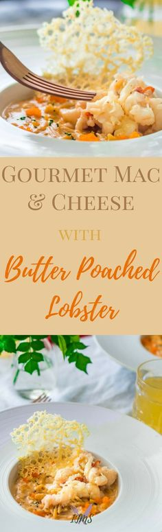 Gourmet Mac and Cheese with Butter Poached Lobster is beyond any mac and cheese you've ever had before. Inspired by Thomas Keller's dish from The French Laundry, is made easier and in a fraction of the time with a few tricks I show you! via @ijustmakesandwi